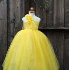 Belle Princess Costume Yellow Flower Girl Dress