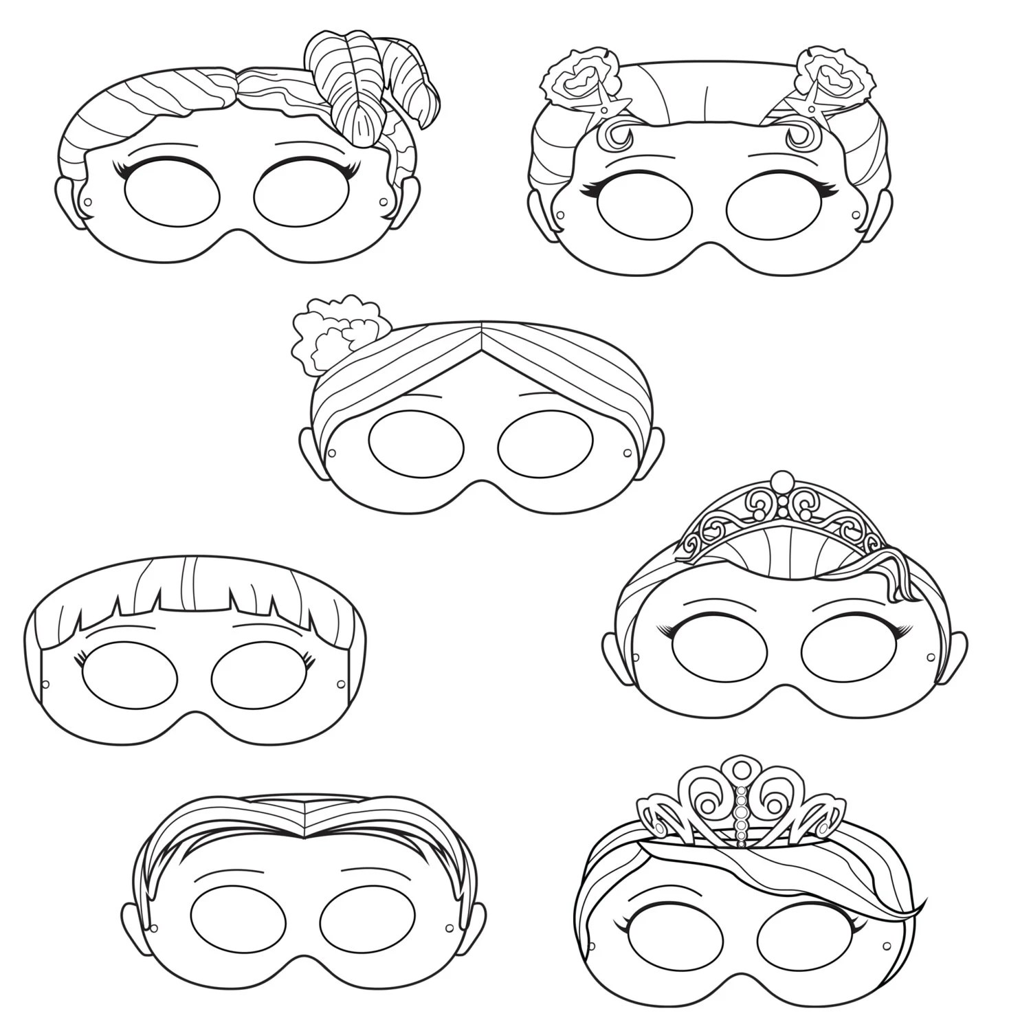 Princesses Printable Coloring Masks princess masks prince
