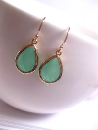 Gold Mint Green Earrings Mint Glass by FashionCrashJewelry