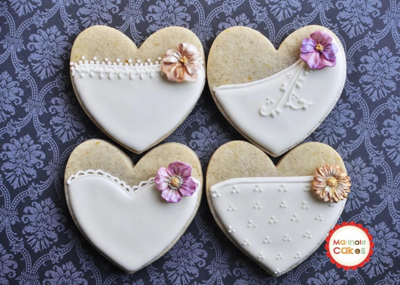 Cookie Wedding Favor 1 Dozen Bride Heart Cookie Favors