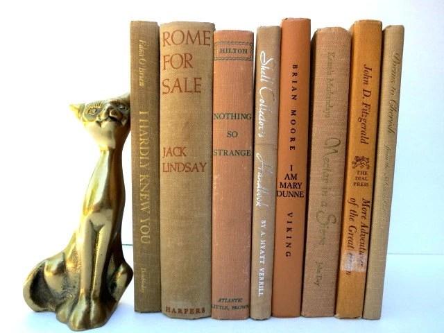 Beige Neutral Vintage Books / Book Decor / Instant Library / Decorative Books - redladybugz