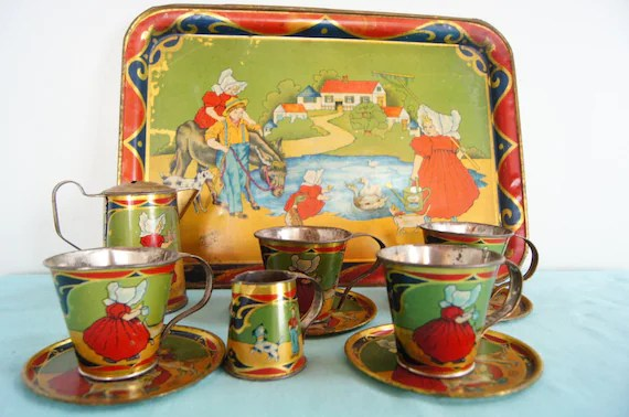 Metal Tin Child39s TEA SET with Tray Coffee Tea Sunbonnet