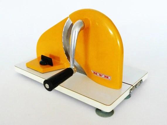 Vintage KYM Hand Crank Slicer Yellow Kitchen by PopBam on Etsy