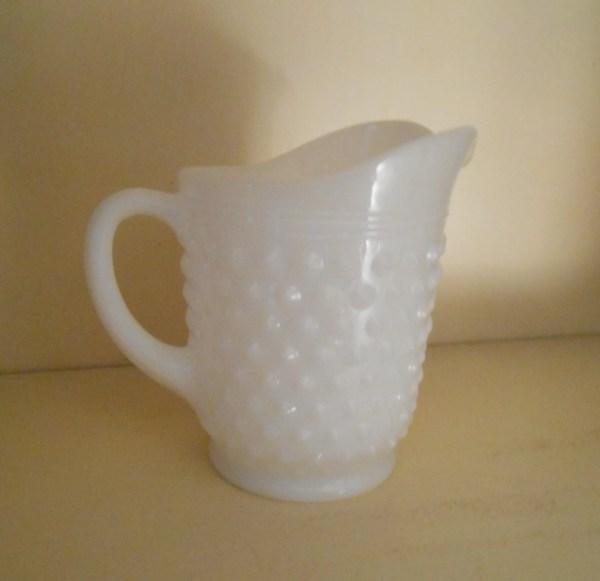 Vintage Milk Glass Hobnail Pitcher Collectible