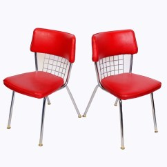 Modern Metal Chairs Chair Cover Hire North Wales Chrome Dinette Set Of 6 Red Seats Howell