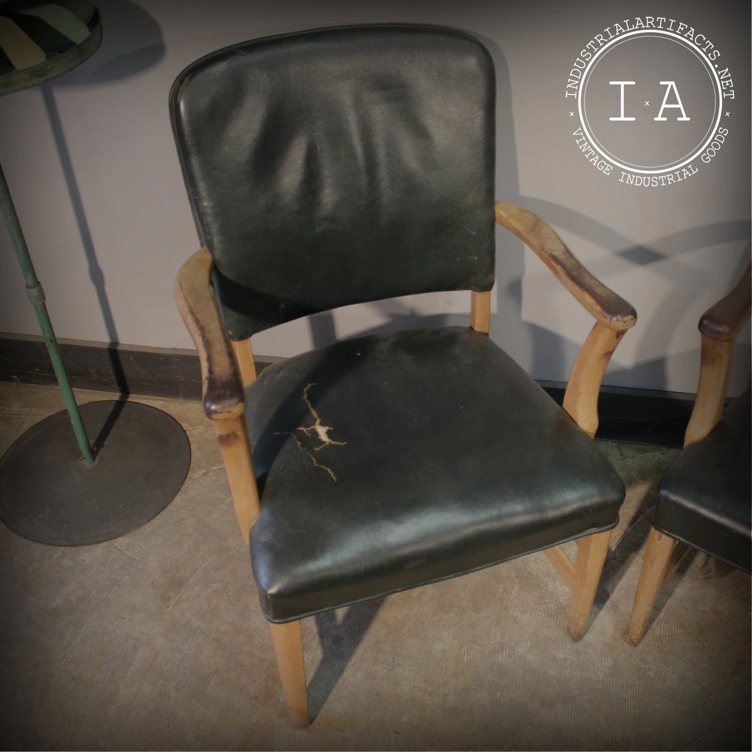 jasper chair company diy dining room chairs vintage industrial green leather and wood