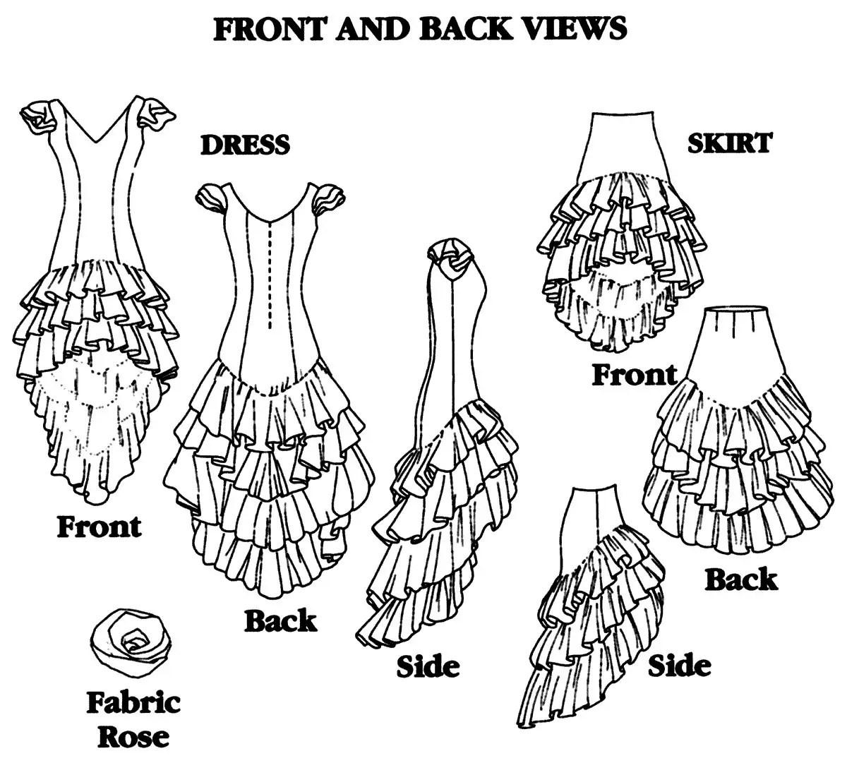 Folkwear Flamenco Dress & Practice Skirt w/Layers of Flounce