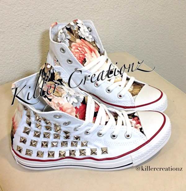 Custom studded Converse Chuck Taylors with floral design ANY