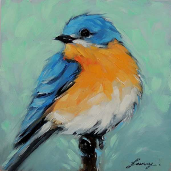 Bluebird 5x5 Original Oil Painting Of