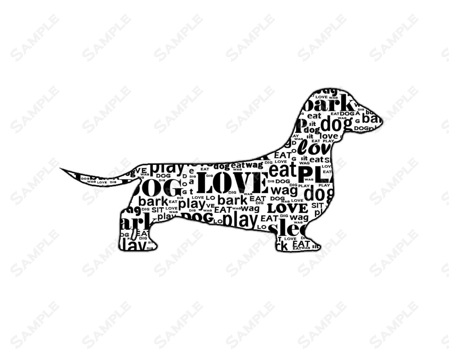 Personalized Dachshund Dog Dachshund Word Art 8 X 10 Print