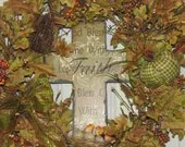 Fall Wreath Autumn Thanksgiving Wreath pale green rust beige brown pumpkins pip berries slate cross fall decor - TheVineDesigns
