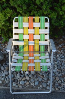 Vintage Webbed Lawn Chair Aluminum Camping