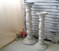 White Distressed Tall Candle Holders Beach by ...