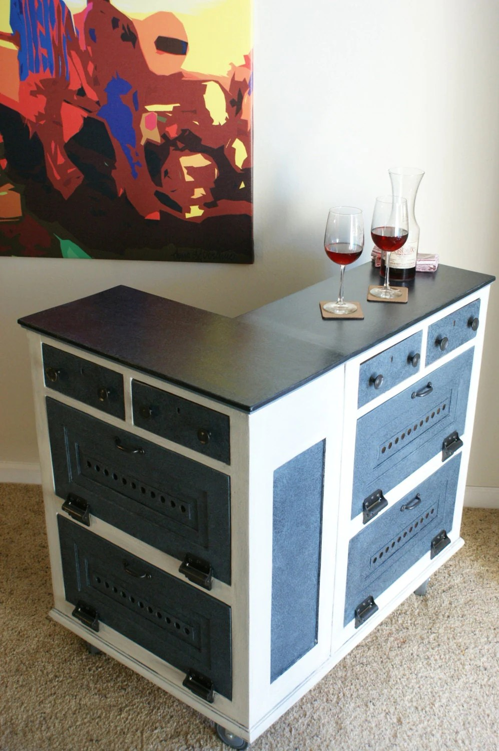 L Shaped Bar Counter Coffee Station Kitchen Island Patio Bar Corner Counter On Caster Wheels