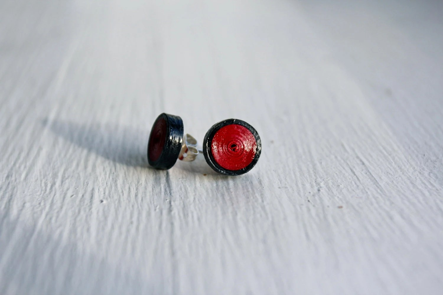 Handmade Black And Red Gauge Styled Paper Quilled Earrings - TheDesktopJunkie