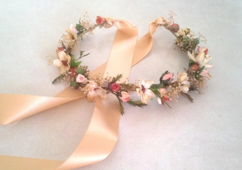 Bridal Flower Crown Woodland Hair Wreath Circlet Dried Flowers