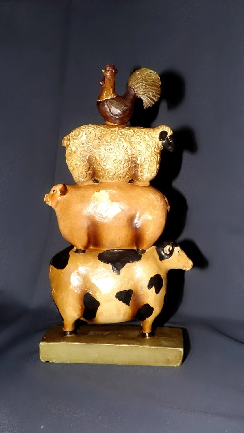 Primitive Cow Rooster Pig Sheep Figurine Kitchen Cabin Rustic