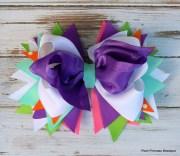 girls hair bows purple white headbands