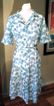 Vintage Late 1950s Blue and White Dress - XL