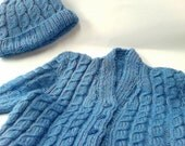 Irish Hand Knitted, Aran style, Blue Cardigan and Hat, Size 3years  Lovely soft finish wash at 30 degrees, mix of  arran and wool blend