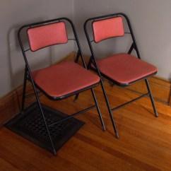 Old Metal Chairs Brown Folding Wedding Vintage Card Table Samsonite