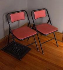 Vintage Metal Folding Chairs Card Table Samsonite
