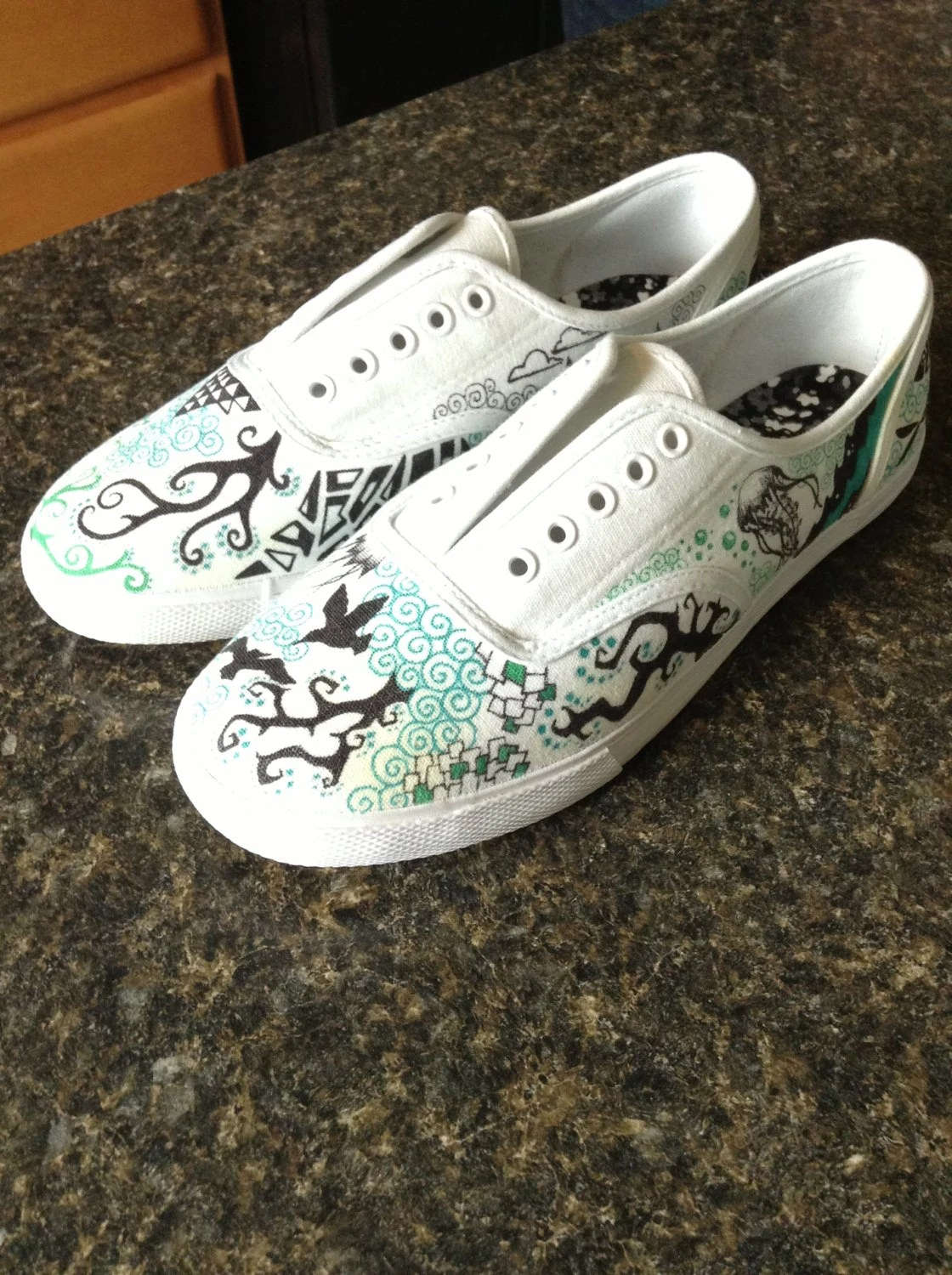 Items Similar To Canvas Shoes With Hand Drawn Designs On Etsy