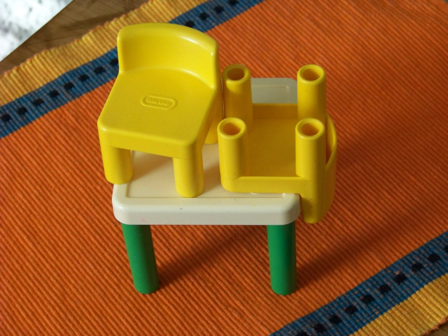 little tikes doll high chair drop side table and chairs vintage dollhouse two retro