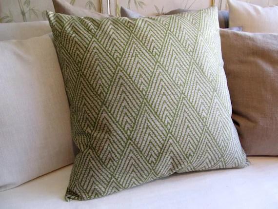 26x26 EURO pillow cover BASIL GREEN ikat on Light tan large