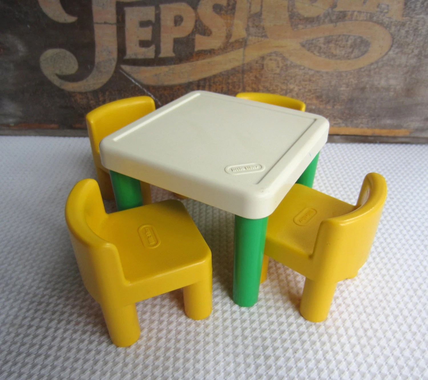 little tikes doll high chair ergonomic neck support vintage table and chairs green yellow