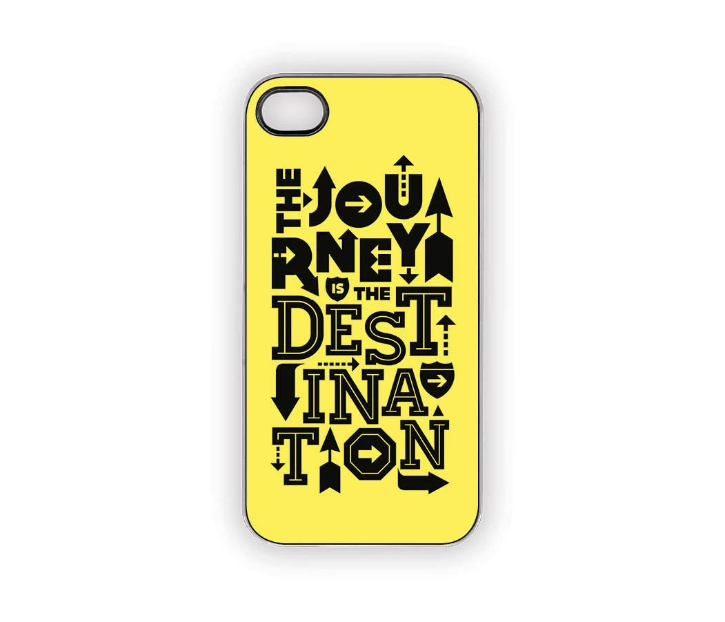 Fall Colors Yellow & Black Journey Quote iPhone Case 5 4S/4 Typography Signs Arrows Adventure Urban Zen Faith Halloween - Inspireuart
