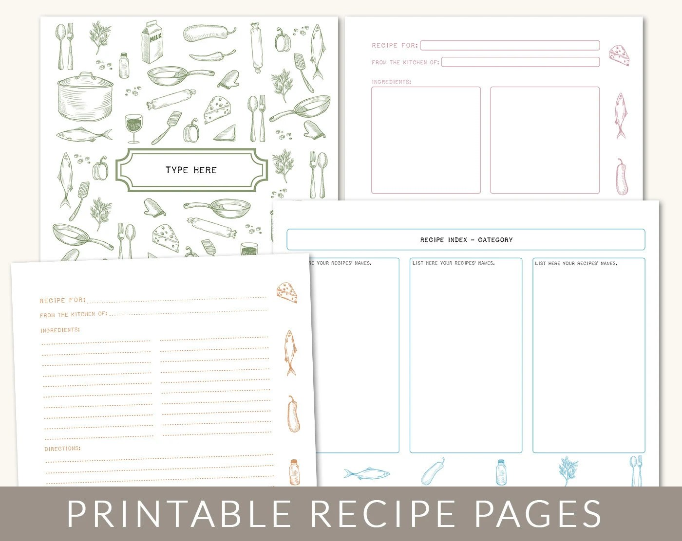 diy custom recipe binder cookbook printable pages 40 by bizuza