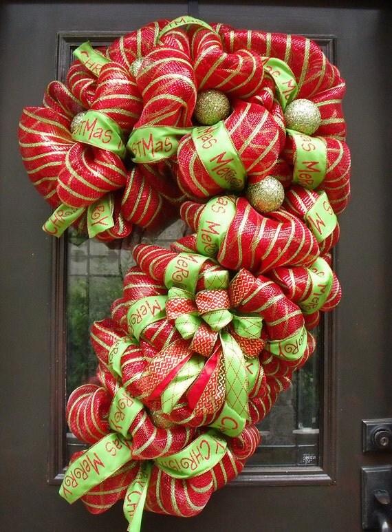 Christmas Deco Mesh Wreath Candy Cane Wreath Christmas Mesh