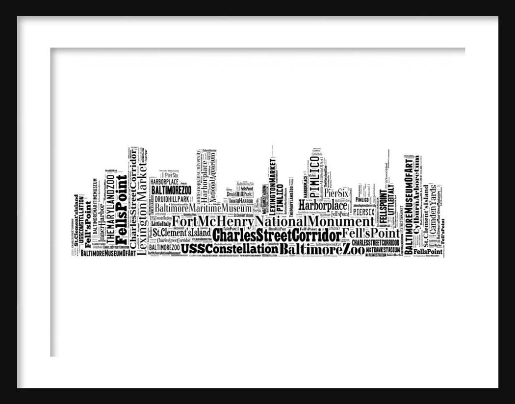 Baltimore Skyline Typography Print Poster Map