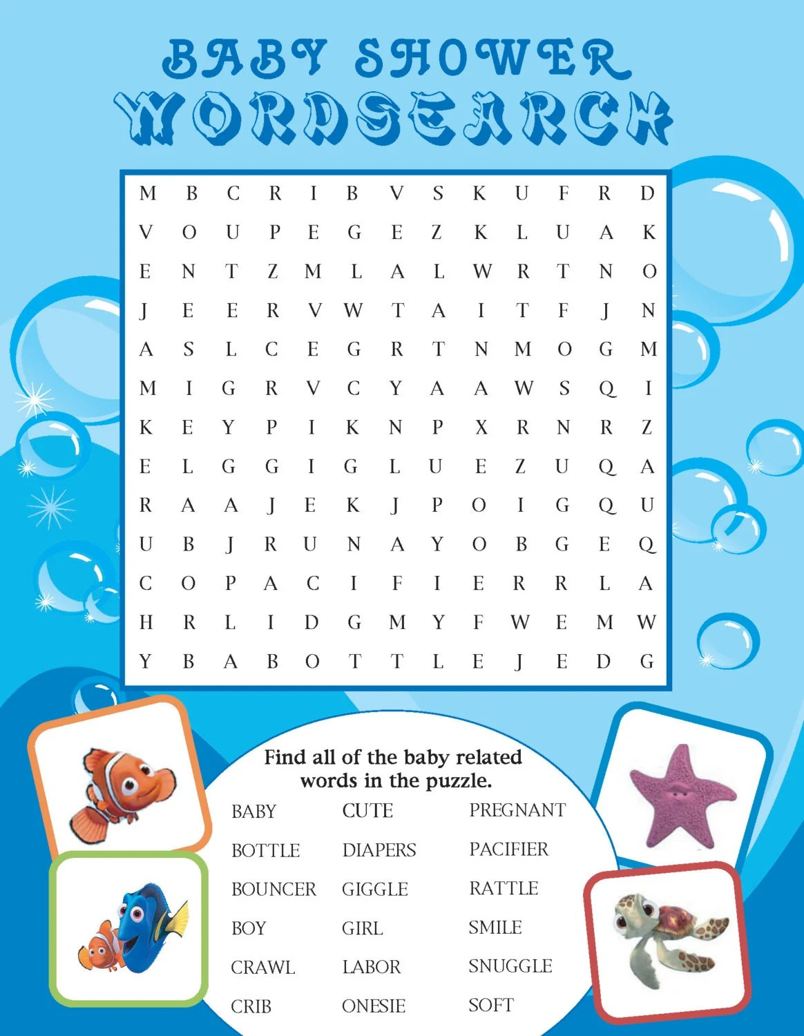 Printable Finding Nemo Themed Baby Shower Word Search By
