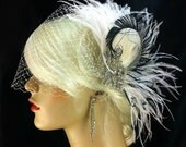 New Rock On  - Bridal Feather Fascinator, Bridal Headpiece, Wedding Veil, Wedding Fascinator, Feather Fascinator, Ivory, White and Black