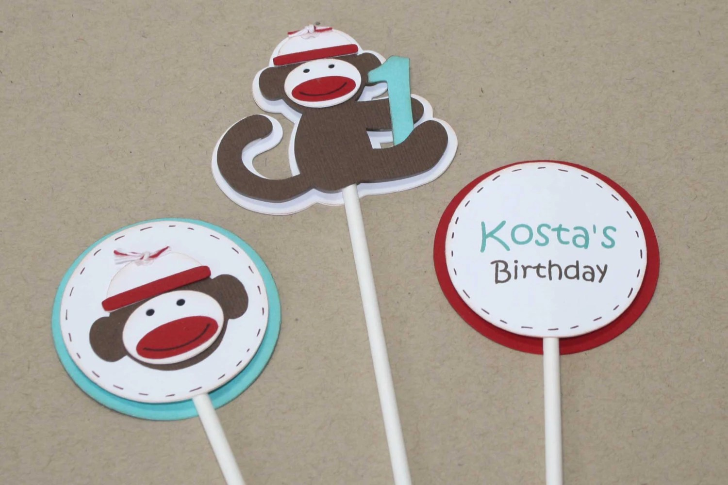 Sock Monkey Cupcake Toppers Sock Monkey By JillyBearDesigns