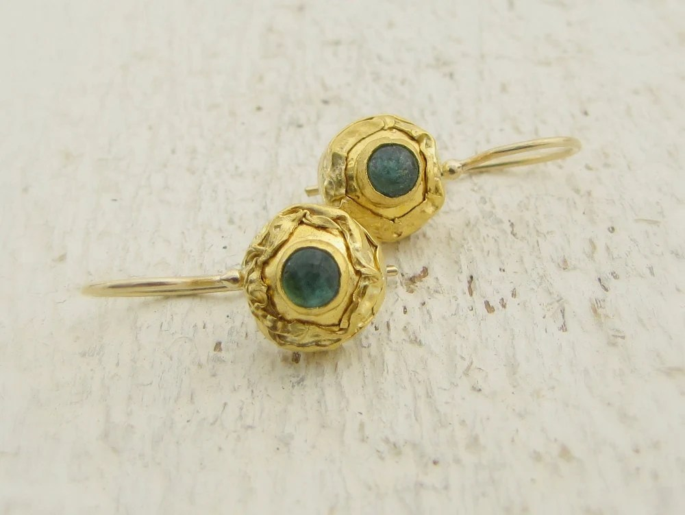 Green Tourmaline Earrings - 24k Solid Gold Earrings - Omiya