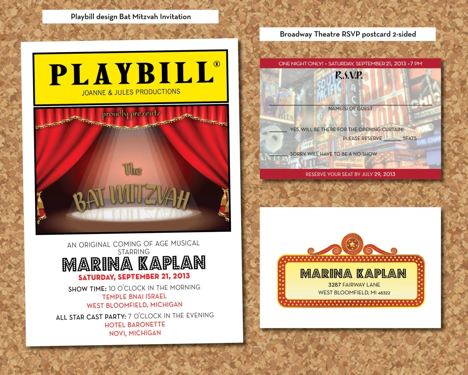 PLAYBILL Theater Bat Mitzvah Invitation & RSVP Postcard