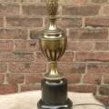 Vintage 1960 s stiffel brass table lamp black enamel hollywood