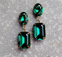 Emerald Green Earrings Swarovski Crystal Post Dangle or Clip
