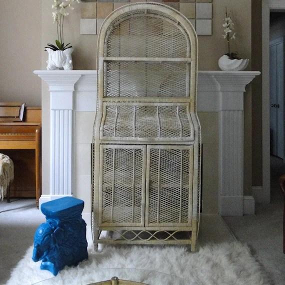 Vintage Cabinet Shelf Buri Wicker Rattan Natural Woven Peacock