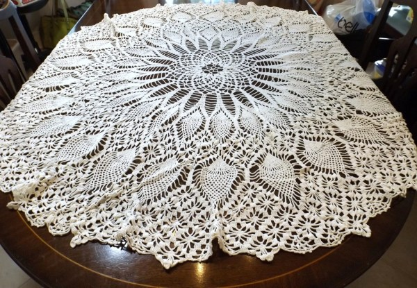 Hand Crocheted Tablecloth Pineapple Pattern 52