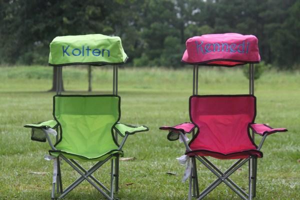 Kids Foldable Canopy Beach Camp Chair Monogram Thepurplepetunia