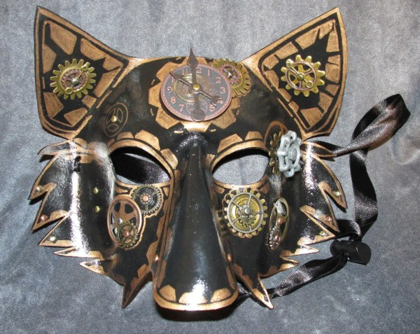 Steampunk Wolf Mask In Copper And Black With Gears Clock