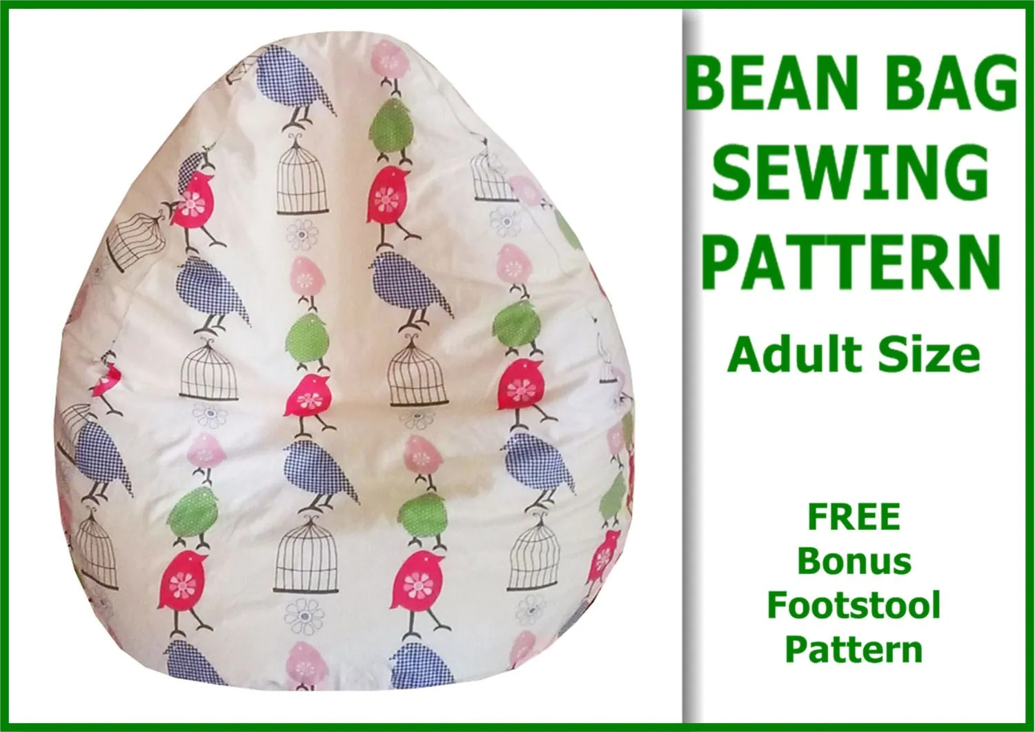 no sew bean bag chair portable pedicure chairs canada adult sewing pattern with free bonus foot stool