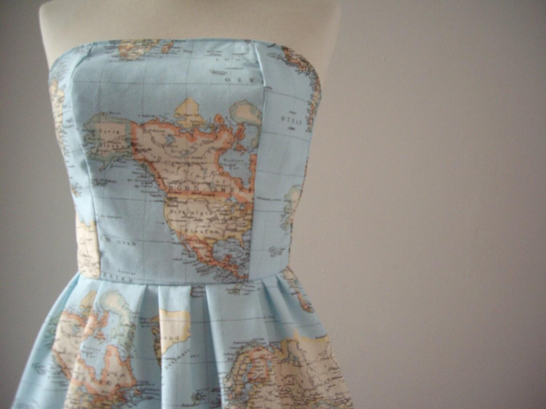 World Map Dress Printed Strapless Cotton Summer by CruelCandy