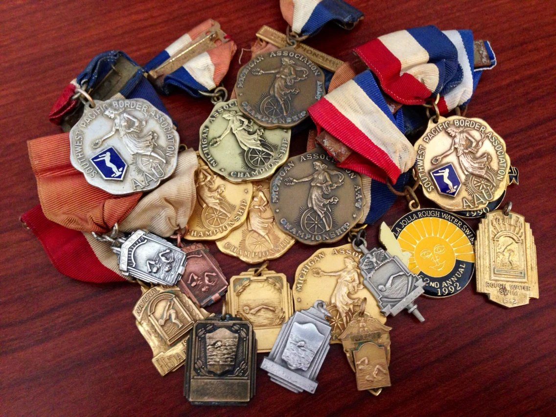 Lot of 30 vintage athletic/swimming medals Free Shipping