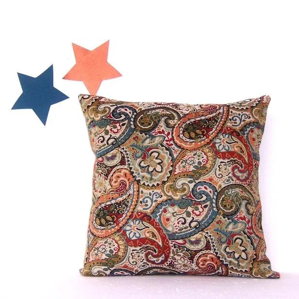 Decorative Paisley Pillow Cover Green Rust Blue Peach Beige