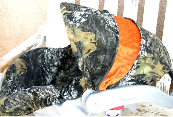 Mossy Oak Camo With Orange Minky Car Seat Cover And Hood